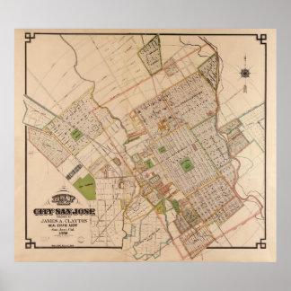 Vintage Map of San Jose California (1886) Poster