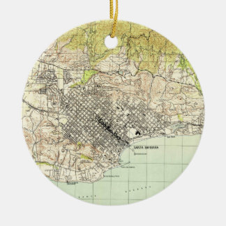Vintage Map of Santa Barbara California (1944) Ceramic Ornament