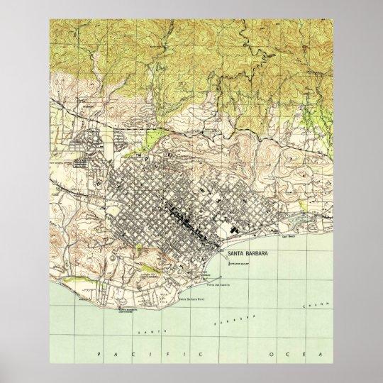 Santa Barbara California Map.Vintage Map Of Santa Barbara California 1944 Poster