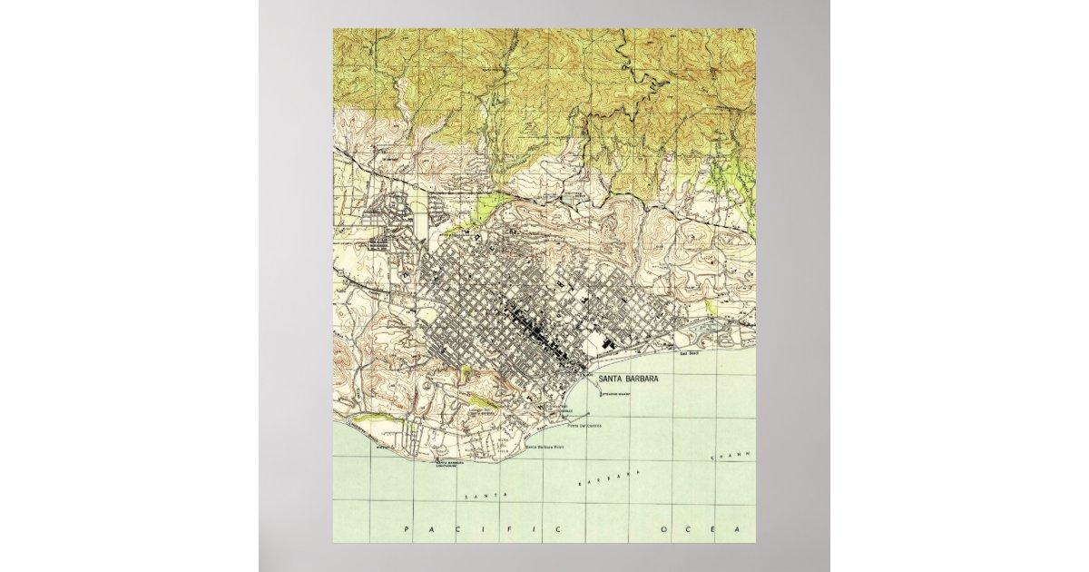 Vintage Map of Santa Barbara California (1944) Poster   Zazzle.com on ojai california map, san pedro california map, san diego california map, grossmont california map, bay area california map, ventura california map, davis california map, san francisco california map, carmel california map, thousand oaks california map, orange county california map, paso robles california map, anaheim california map, mono lake california map, palm springs california map, lake tahoe california map, long beach california map, pacific coast highway california map, los angeles california map, turlock california map,