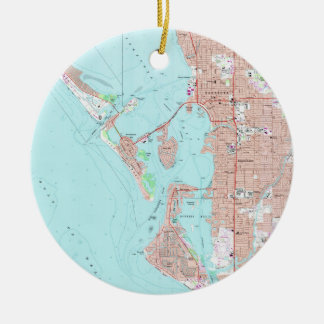 Vintage Map of Sarasota Florida (1973) Ceramic Ornament