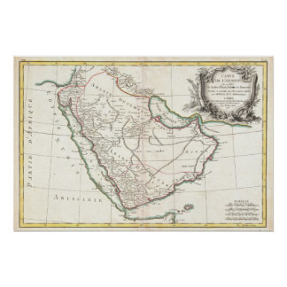 Vintage Map of Saudi Arabia (1771) Poster