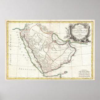 Vintage Map of Saudi Arabia (1771) Poster