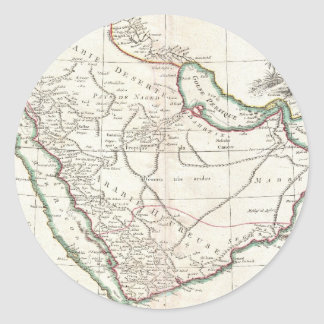 Vintage Map of Saudi Arabia (1771) Classic Round Sticker