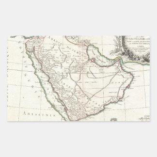 Vintage Map of Saudi Arabia (1771) Rectangular Sticker