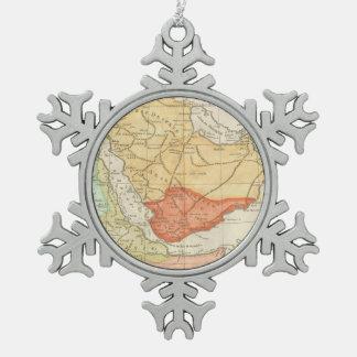 Vintage Map of Saudi Arabia (1780) Snowflake Pewter Christmas Ornament