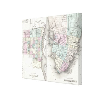 Vintage Map of Savannah and Charleston (1855) Gallery Wrapped Canvas