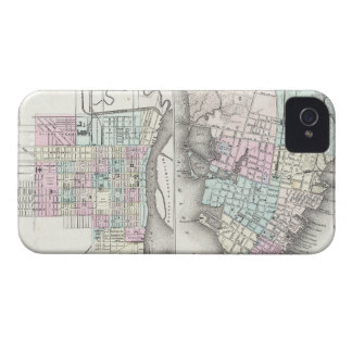 Vintage Map of Savannah and Charleston (1855) iPhone 4 Case-Mate Cases