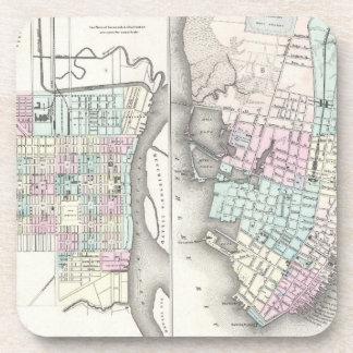Vintage Map of Savannah and Charleston (1855) Drink Coasters