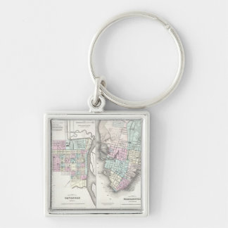Vintage Map of Savannah and Charleston (1855) Silver-Colored Square Keychain