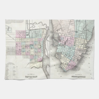 Vintage Map of Savannah and Charleston (1855) Hand Towels