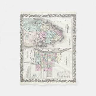 Vintage Map of Savannah and Charleston (1855) Fleece Blanket