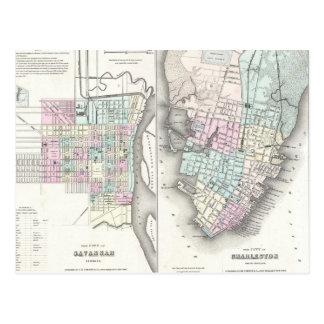 Vintage Map of Savannah and Charleston (1855) Postcard
