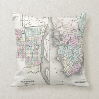 Vintage Map of Savannah and Charleston (1855) Throw Pillow