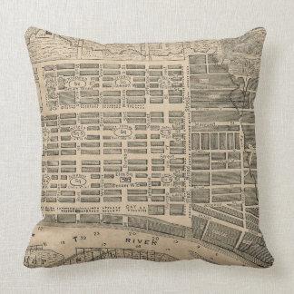 Vintage Map of Savannah Georgia (1818) Throw Pillows