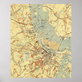Vintage Map of Savannah Georgia (1942) Poster