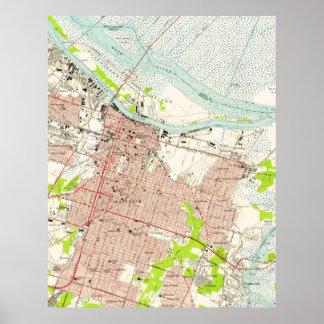 Vintage Map of Savannah Georgia (1955) Poster