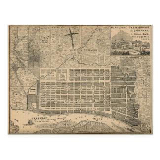 Vintage Map of Savannah Georgia 19th Century Postcard