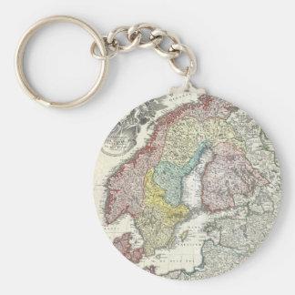 Vintage Map of Scandinavia (1730) Basic Round Button Keychain