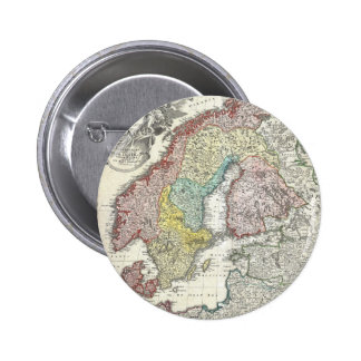 Vintage Map of Scandinavia (1730) Button