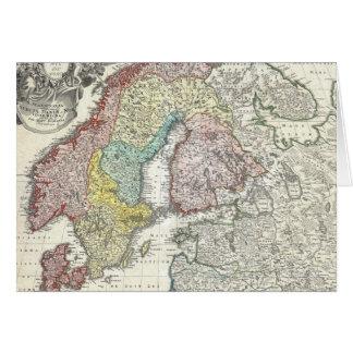 Vintage Map of Scandinavia (1730) Card