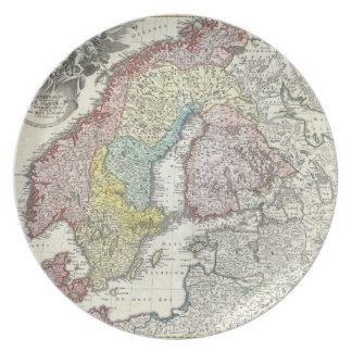 Vintage Map of Scandinavia (1730) Dinner Plate
