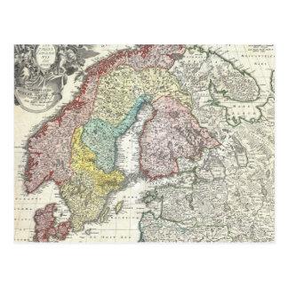 Vintage Map of Scandinavia (1730) Postcard