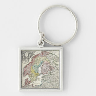 Vintage Map of Scandinavia (1730) Silver-Colored Square Keychain
