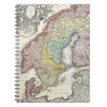 Vintage Map of Scandinavia (1730) Spiral Note Book