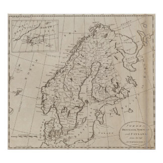 Map Of Sweden Posters Zazzle - Sweden map 1800