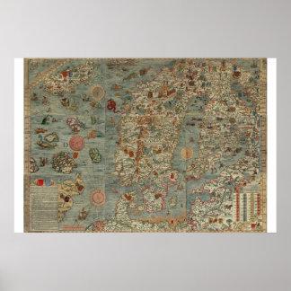 Vintage Map of Scandinavia Poster