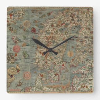 Vintage Map of Scandinavia Square Wall Clock