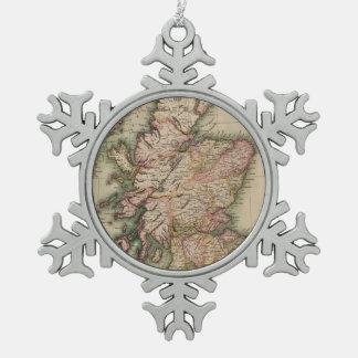 Vintage Map of Scotland (1814) Snowflake Pewter Christmas Ornament