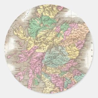 Vintage Map of Scotland (1827) Classic Round Sticker