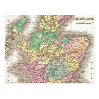 Vintage Map of Scotland (1827) Post Cards