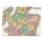 Vintage Map of Scotland (1827) Postcard