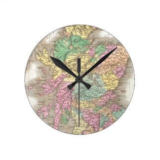 Vintage Map of Scotland (1827) Round Clock