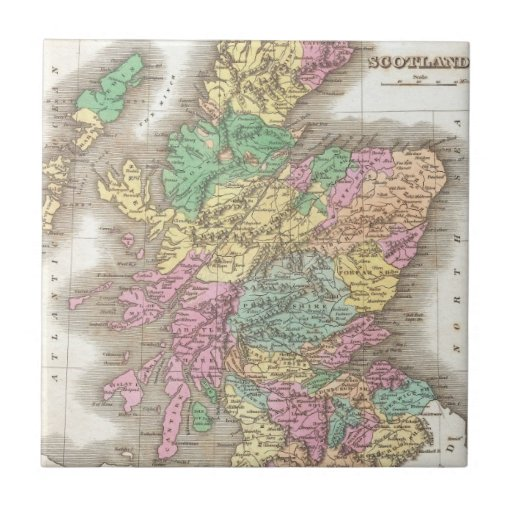 Vintage Map of Scotland (1827) Small Square Tile
