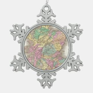 Vintage Map of Scotland (1827) Snowflake Pewter Christmas Ornament