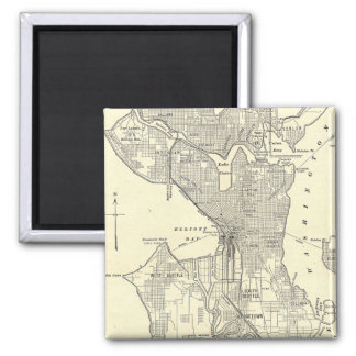 Vintage Map of Seattle (1914) 2 Inch Square Magnet