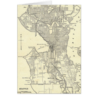 Vintage Map of Seattle (1914) Greeting Cards