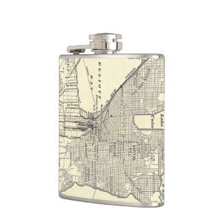 Vintage Map of Seattle (1914) Hip Flask