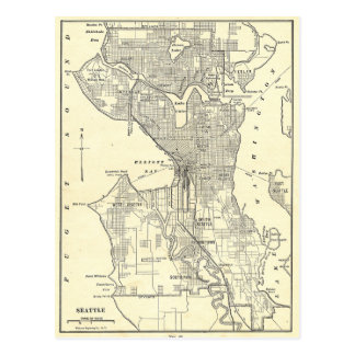 Vintage Map of Seattle 1914 Postcard