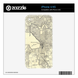 Vintage Map of Seattle (1914) Decal For iPhone 4