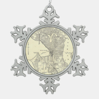 Vintage Map of Seattle (1914) Snowflake Pewter Christmas Ornament