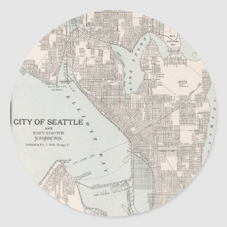 Vintage Map of Seattle Washington (1901) Classic Round Sticker