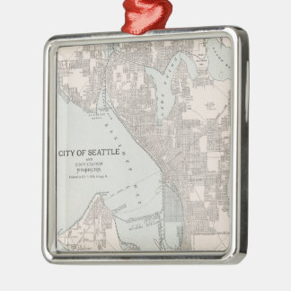 Vintage Map of Seattle Washington (1901) Metal Ornament