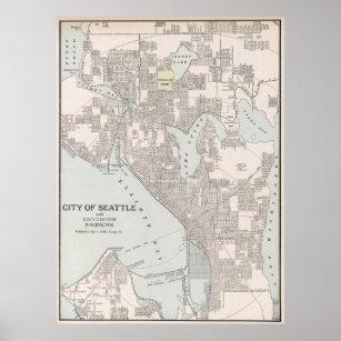 Seattle Washington Map Posters & Photo Prints | Zazzle
