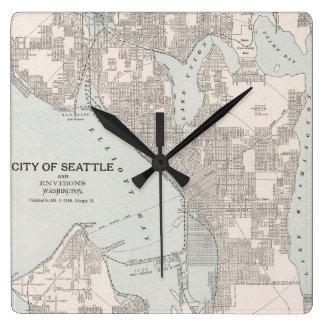 Vintage Map of Seattle Washington (1901) Square Wall Clock