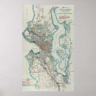 Vintage Map of Seattle Washington (1911) Poster